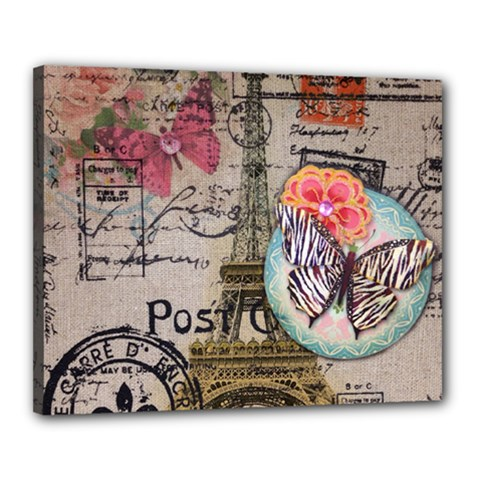 Floral Scripts Butterfly Eiffel Tower Vintage Paris Fashion Canvas 20  X 16  (framed) by chicelegantboutique