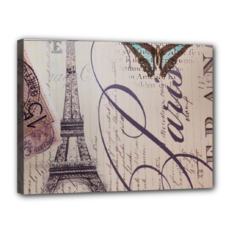 Vintage Scripts Floral Scripts Butterfly Eiffel Tower Vintage Paris Fashion Canvas 16  X 12  (framed) by chicelegantboutique