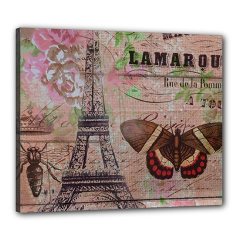 Girly Bee Crown  Butterfly Paris Eiffel Tower Fashion Canvas 24  X 20  (framed)