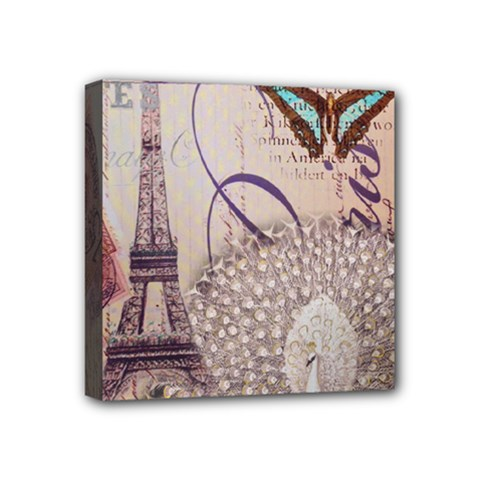 White Peacock Paris Eiffel Tower Vintage Bird Butterfly French Botanical Art Mini Canvas 4  X 4  (framed) by chicelegantboutique
