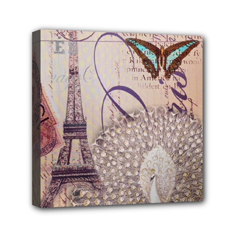 White Peacock Paris Eiffel Tower Vintage Bird Butterfly French Botanical Art Mini Canvas 6  X 6  (framed) by chicelegantboutique