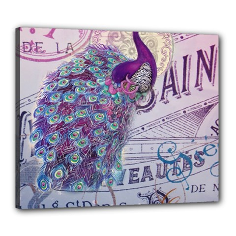 French Scripts  Purple Peacock Floral Paris Decor Canvas 24  X 20  (framed) by chicelegantboutique