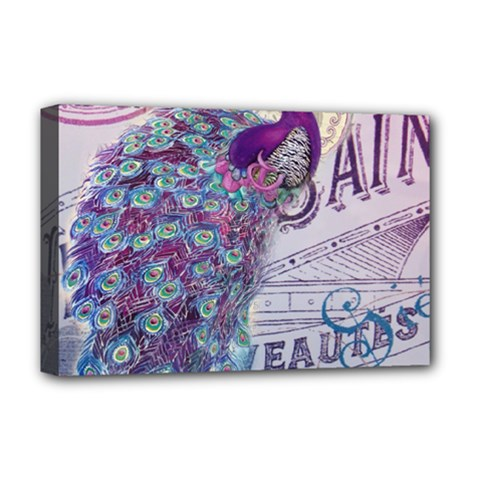 French Scripts  Purple Peacock Floral Paris Decor Deluxe Canvas 18  X 12  (framed) by chicelegantboutique