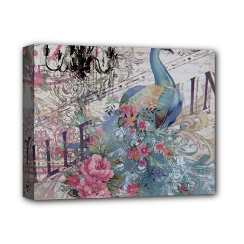 French Vintage Chandelier Blue Peacock Floral Paris Decor Deluxe Canvas 14  X 11  (framed) by chicelegantboutique