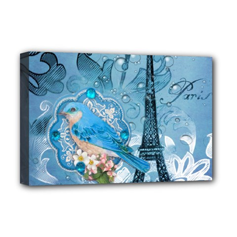Girly Blue Bird Vintage Damask Floral Paris Eiffel Tower Deluxe Canvas 18  X 12  (framed) by chicelegantboutique