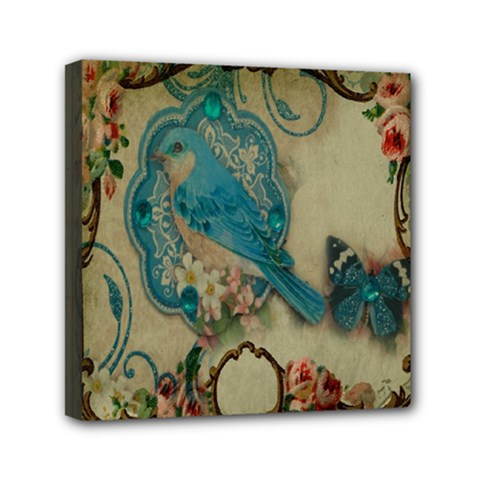 Victorian Girly Blue Bird Vintage Damask Floral Paris Eiffel Tower Mini Canvas 6  X 6  (framed) by chicelegantboutique