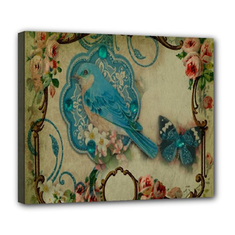 Victorian Girly Blue Bird Vintage Damask Floral Paris Eiffel Tower Deluxe Canvas 24  X 20  (framed) by chicelegantboutique