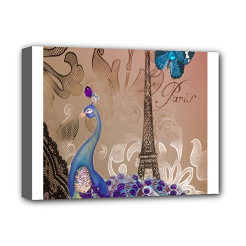 Modern Butterfly  Floral Paris Eiffel Tower Decor Deluxe Canvas 16  X 12  (framed)  by chicelegantboutique