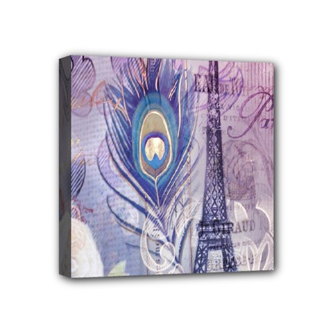 Peacock Feather White Rose Paris Eiffel Tower Mini Canvas 4  X 4  (framed)