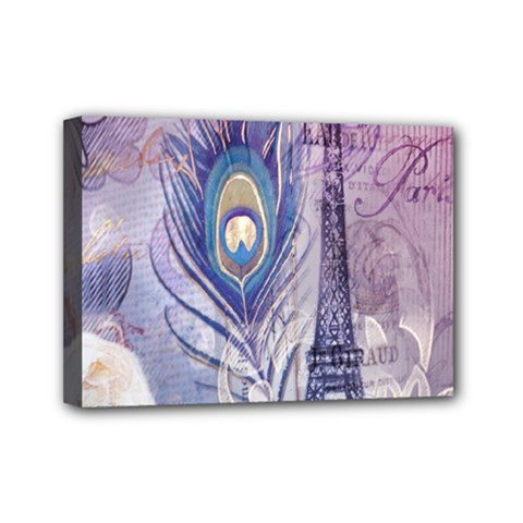Peacock Feather White Rose Paris Eiffel Tower Mini Canvas 7  X 5  (framed)