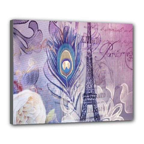 Peacock Feather White Rose Paris Eiffel Tower Canvas 20  X 16  (framed)