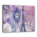Peacock Feather White Rose Paris Eiffel Tower Canvas 20  x 16  (Framed) View1
