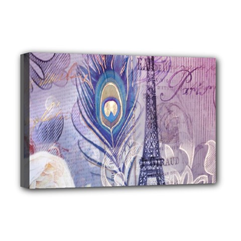 Peacock Feather White Rose Paris Eiffel Tower Deluxe Canvas 18  X 12  (framed) by chicelegantboutique