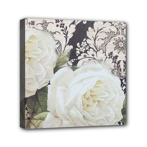 Elegant White Rose Vintage Damask Mini Canvas 6  X 6  (framed)