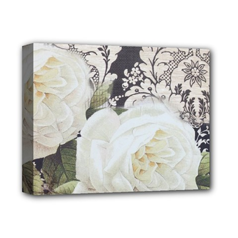 Elegant White Rose Vintage Damask Deluxe Canvas 14  X 11  (framed) by chicelegantboutique