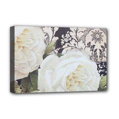Elegant White Rose Vintage Damask Deluxe Canvas 18  X 12  (framed) by chicelegantboutique