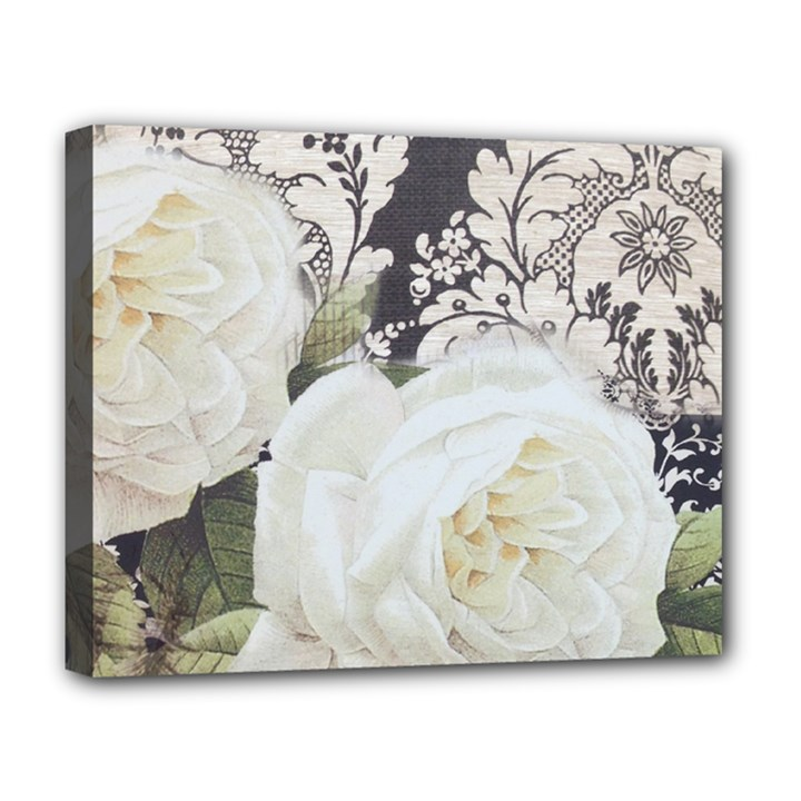 Elegant White Rose Vintage Damask Deluxe Canvas 20  x 16  (Framed)