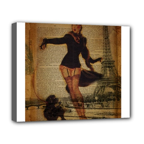 Paris Lady And French Poodle Vintage Newspaper Print Sexy Hot Gil Elvgren Pin Up Girl Paris Eiffel T Deluxe Canvas 20  X 16  (framed) by chicelegantboutique