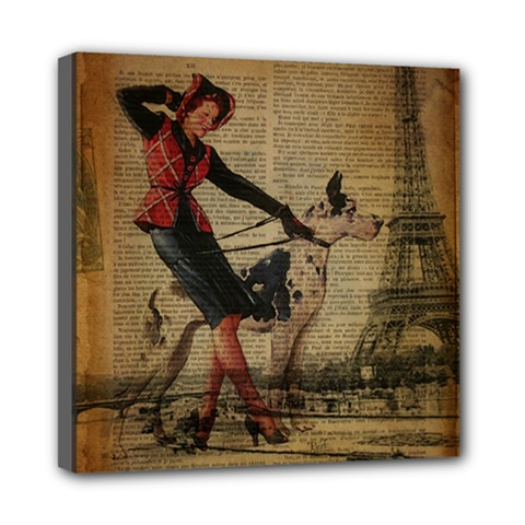 Paris Girl And Great Dane Vintage Newspaper Print Sexy Hot Gil Elvgren Pin Up Girl Paris Eiffel Towe Mini Canvas 8  X 8  (framed) by chicelegantboutique