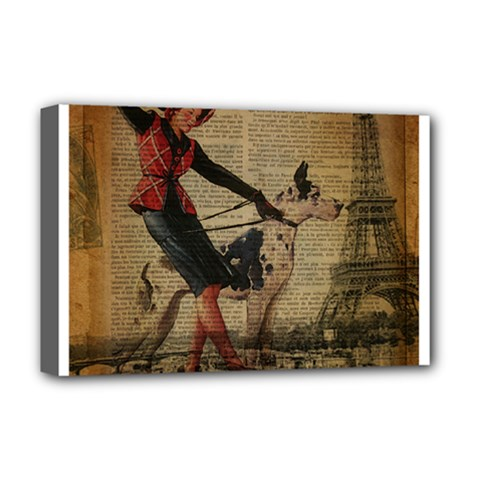 Paris Girl And Great Dane Vintage Newspaper Print Sexy Hot Gil Elvgren Pin Up Girl Paris Eiffel Towe Deluxe Canvas 18  X 12  (framed) by chicelegantboutique