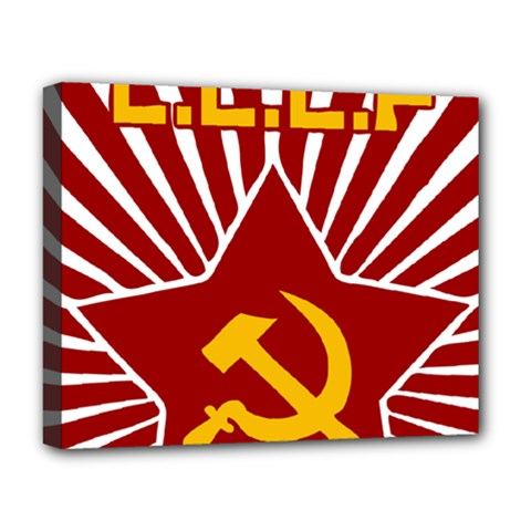 Hammer And Sickle Cccp Deluxe Canvas 20  X 16  (stretched) by youshidesign