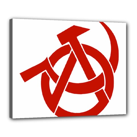 Hammer Sickle Anarchy Canvas 20  X 16  (framed) by youshidesign