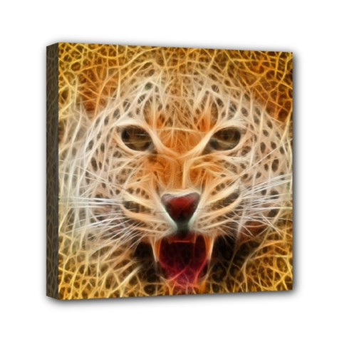 Electrified Fractal Jaguar Mini Canvas 6  X 6  (stretched) by TheWowFactor