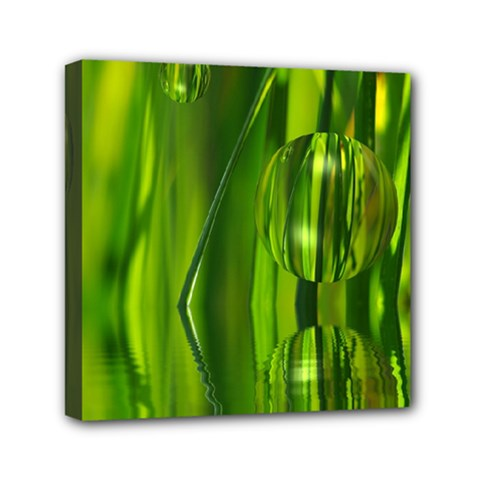 Green Bubbles  Mini Canvas 6  X 6  (framed) by Siebenhuehner