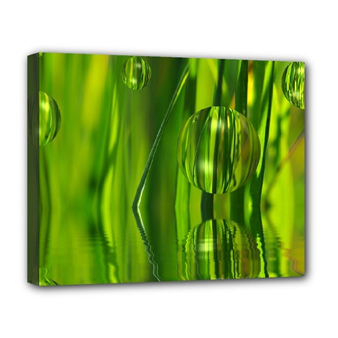 Green Bubbles  Deluxe Canvas 20  X 16  (framed) by Siebenhuehner