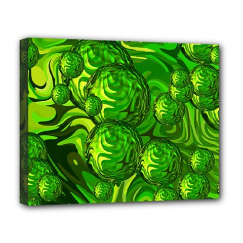 Green Balls  Deluxe Canvas 20  X 16  (framed) by Siebenhuehner