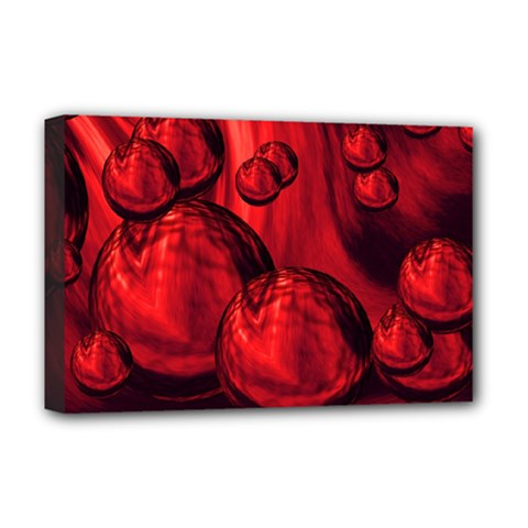 Red Bubbles Deluxe Canvas 18  X 12  (framed) by Siebenhuehner