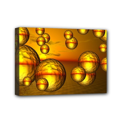 Sunset Bubbles Mini Canvas 7  X 5  (framed) by Siebenhuehner