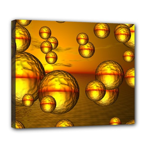 Sunset Bubbles Deluxe Canvas 24  X 20  (framed) by Siebenhuehner