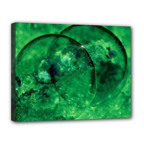 Green Bubbles Canvas 14  X 11  (framed) by Siebenhuehner
