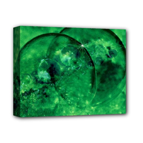 Green Bubbles Deluxe Canvas 14  X 11  (framed) by Siebenhuehner