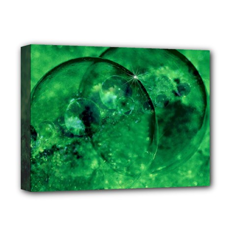 Green Bubbles Deluxe Canvas 16  X 12  (framed)  by Siebenhuehner