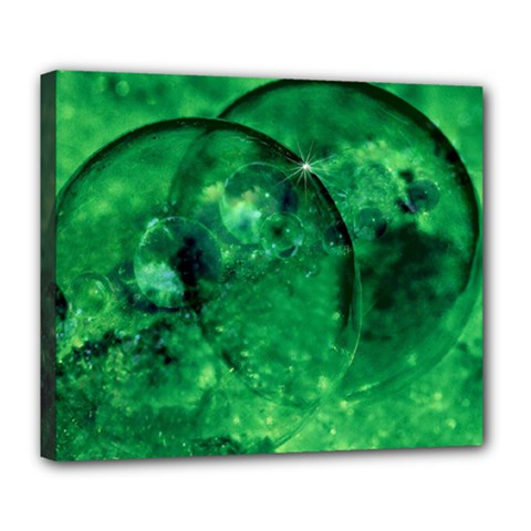 Green Bubbles Deluxe Canvas 24  X 20  (framed) by Siebenhuehner
