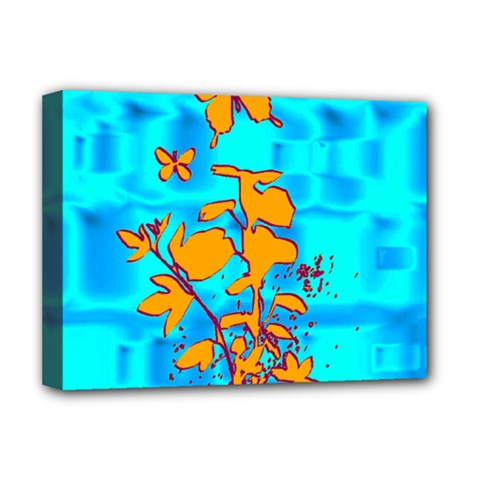 Butterfly Blue Deluxe Canvas 16  X 12  (framed)