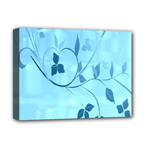 Floral Blue Deluxe Canvas 16  X 12  (framed)