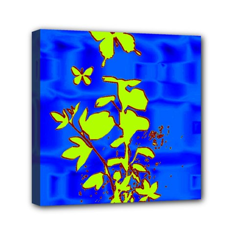 Butterfly Blue/green Mini Canvas 6  X 6  (framed)