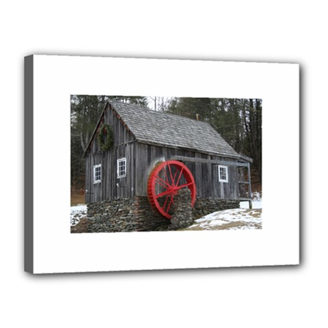 Vermont Christmas Barn Canvas 16  X 12  (framed) by plainandsimple