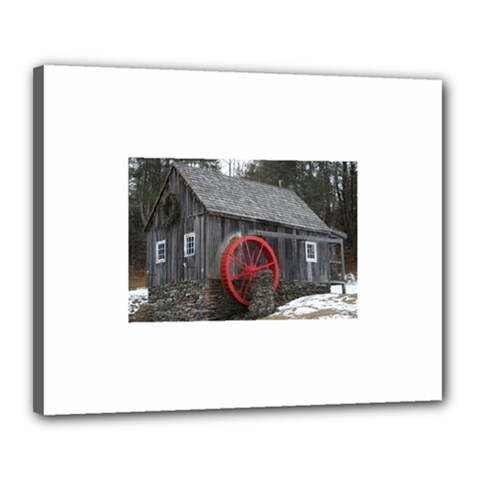 Vermont Christmas Barn Canvas 20  X 16  (framed) by plainandsimple
