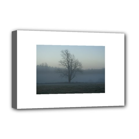 Foggy Tree Deluxe Canvas 18  X 12  (framed) by plainandsimple
