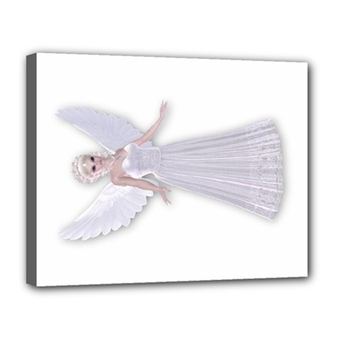 Magic Fairy In White Dress Canvas 14  X 11  (framed) by goldenjackal