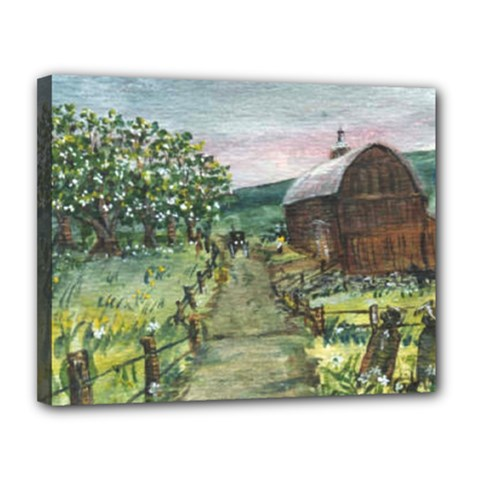 amish Apple Blossoms  By Ave Hurley Of Artrevu   Canvas 14  X 11  (stretched) by ArtRave2