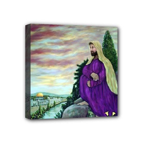 Jesus Overlooking Jerusalem   Ave Hurley   Artrave   Mini Canvas 4  X 4  (framed) by ArtRave2