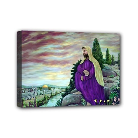 Jesus Overlooking Jerusalem   Ave Hurley   Artrave   Mini Canvas 7  X 5  (framed) by ArtRave2