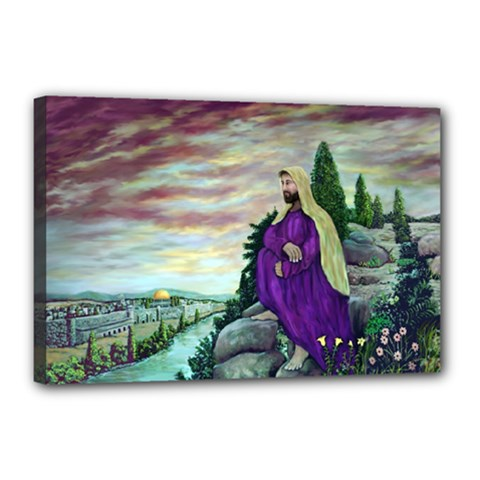 Jesus Overlooking Jerusalem   Ave Hurley   Artrave   Canvas 18  X 12  (framed) by ArtRave2