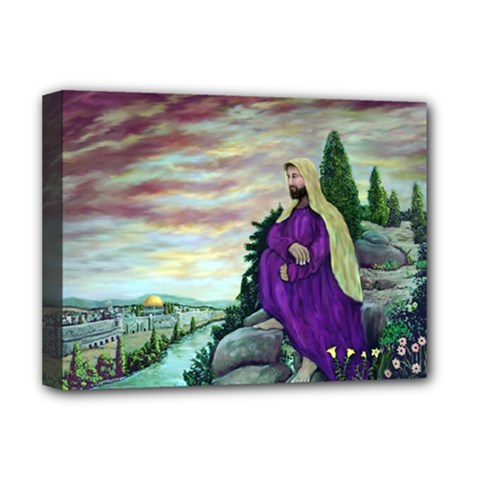 Jesus Overlooking Jerusalem   Ave Hurley   Artrave   Deluxe Canvas 16  X 12  (framed)  by ArtRave2