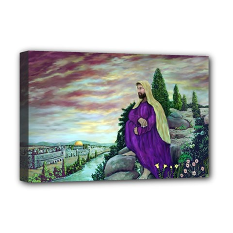 Jesus Overlooking Jerusalem   Ave Hurley   Artrave   Deluxe Canvas 18  X 12  (framed) by ArtRave2